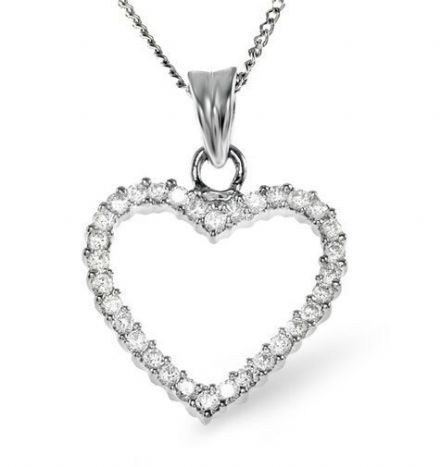 Heart Pendant 0.36CT Diamond 18K White Gold